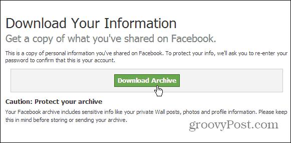 Download Facebook Archive
