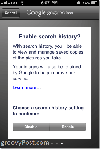 Google Goggles iPhone Search History