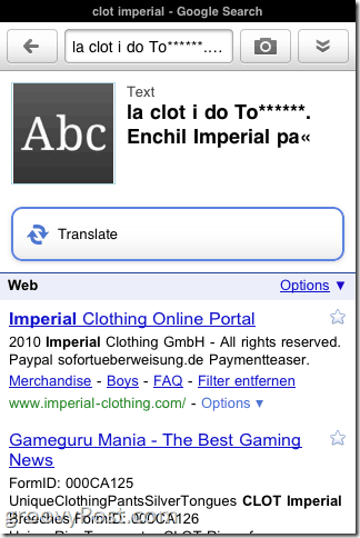 iPhone Google Goggles Translates foreign text