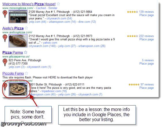 Google Places Search Listings (SEOs take note!)