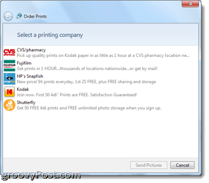 ordering prints from Windos Live Photo Gallery 2011