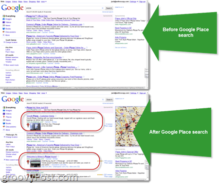 Google Place Search: Before/After