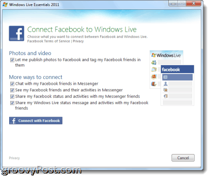 connecting with facebook with Windows Live Photo Gallery 2011