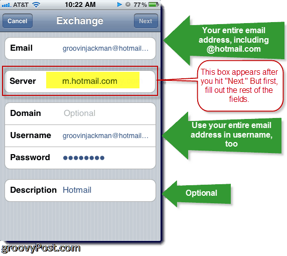 Adding Hotmail Exchange ActiveSync to iPhone