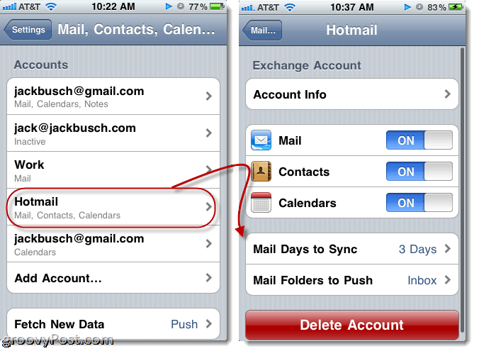 Sending Hotmail from iPhone