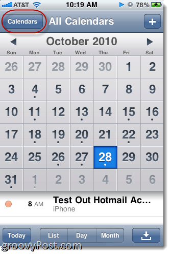 Hotmail iPhone calendar