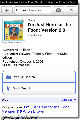 Google Goggles product search for iPhone