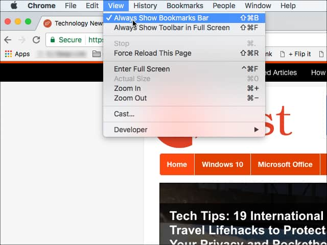 Add bookmark bar mac