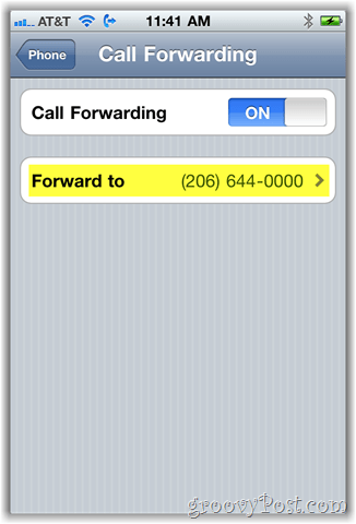 iphone call forwarding option screenshot