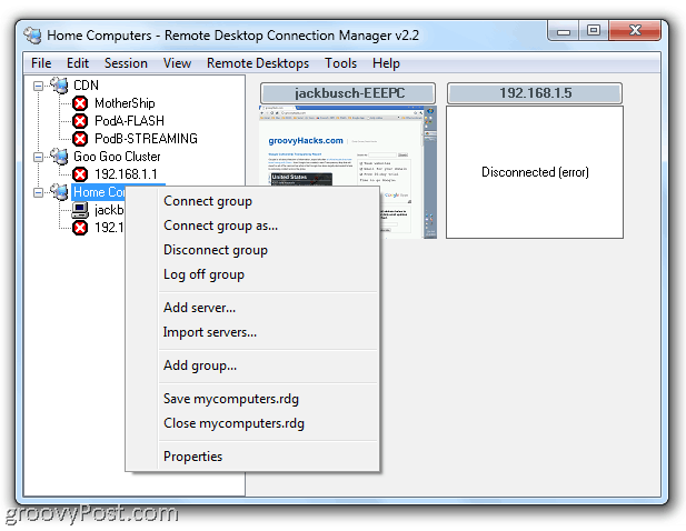RDP Remote Desktop Connection Manager