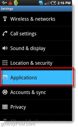 application settings on android