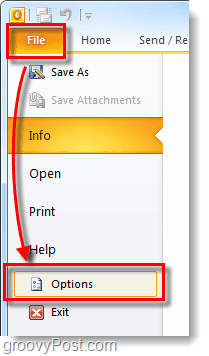 outlook 2010 file menu options