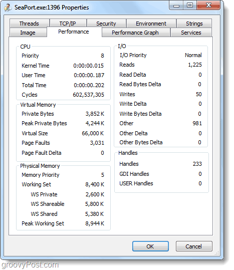 seaport.exe performance stats