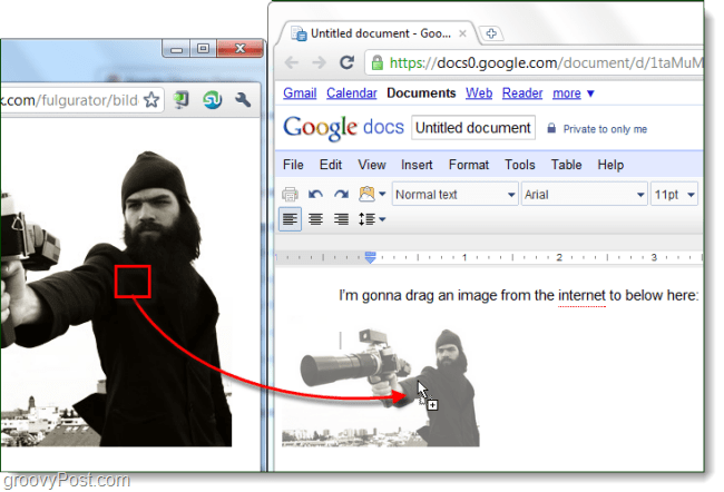 drag to Google Docs, from web