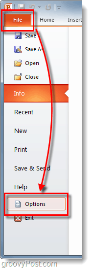 powerpoint 2010 file ribbon options