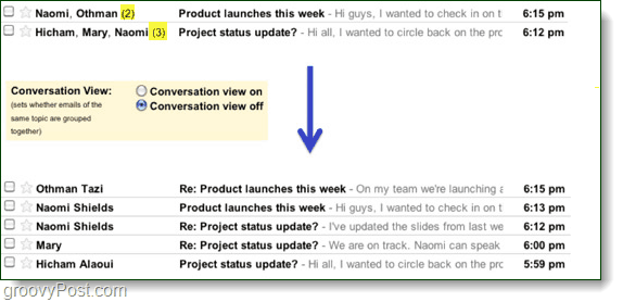 conversation view difference in gmail