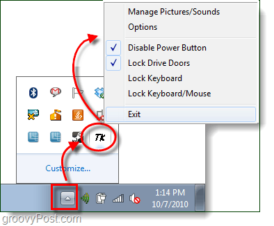 lock power button and cd drive doors in windows 7
