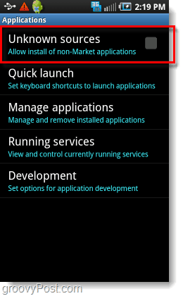 allow install of non market applications from unknown sources