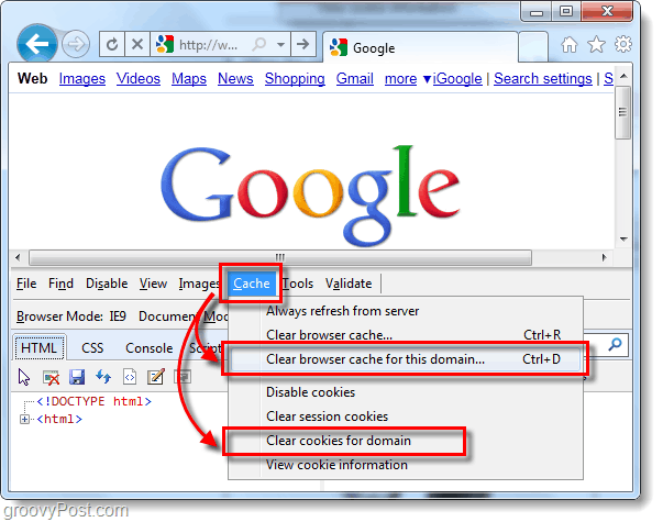 ie9 clear browser for one domain and cookies