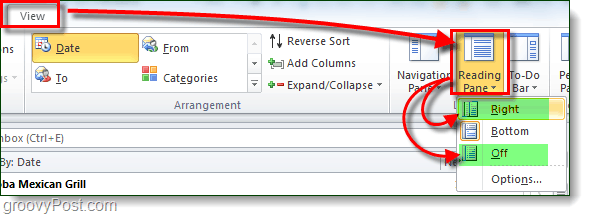 view email reading pane setting outlook
