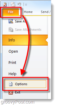 outlook 2010 file options