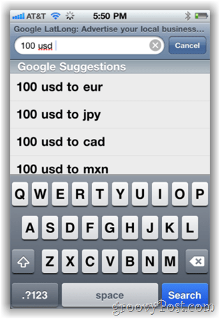 Google.com currency converter on iPhone Mobile