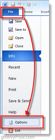 file options word 2010