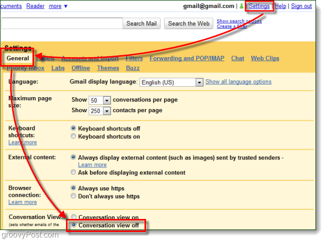 disable conversation view gmail