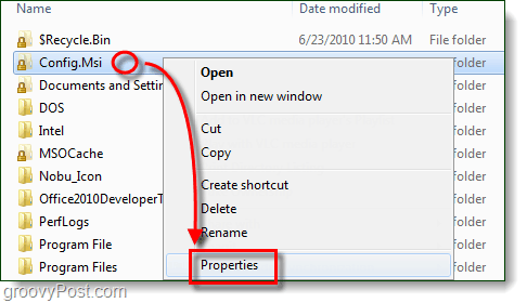 lock icon properties windows 7