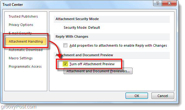 turn off outlook attachment preview
