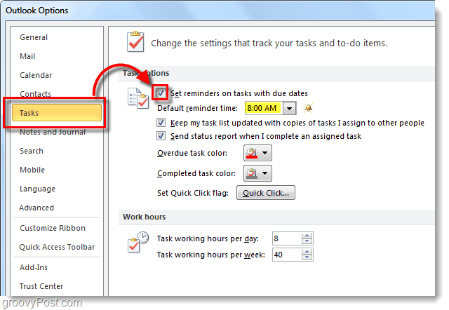 set reminders for tasks with due dates and default reminder time