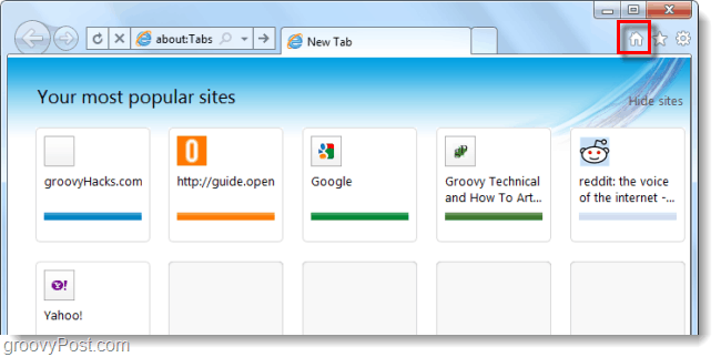 new tab is the homepage in ie9