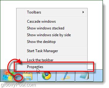 taskbar properties from windows 7