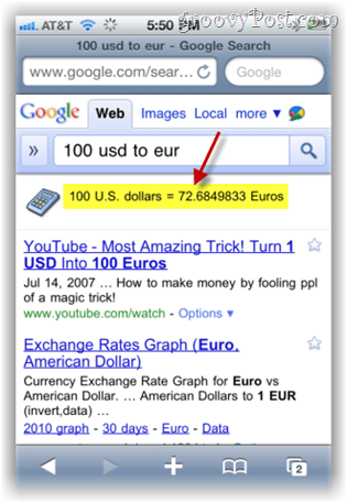 google.com search currency converter on iphone mobile