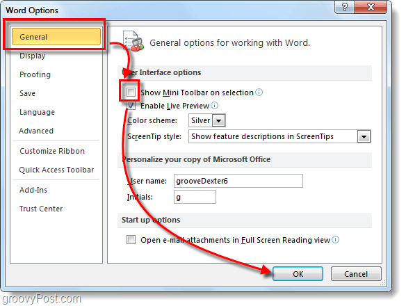 general options disable mini toolbar word 2010
