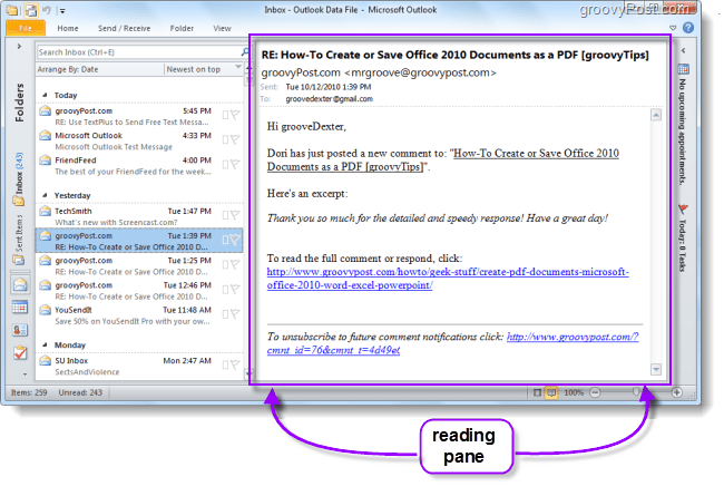 Outlook 2010 reading pane view emails