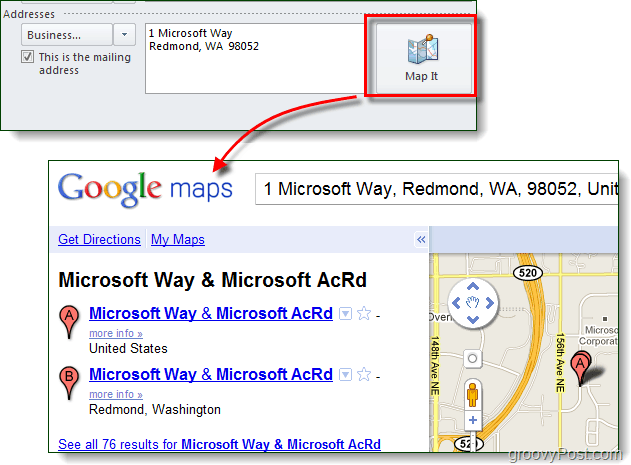map it with google maps in outlook