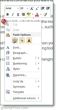 right-click context menu in word 2010