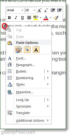 right-click context menu in word 2010