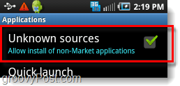 android unknown sources setting