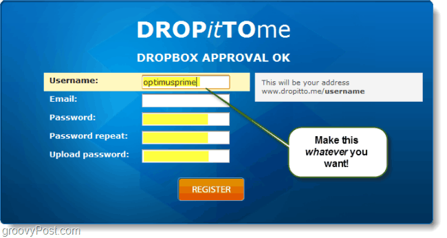 create a dropbox upload url