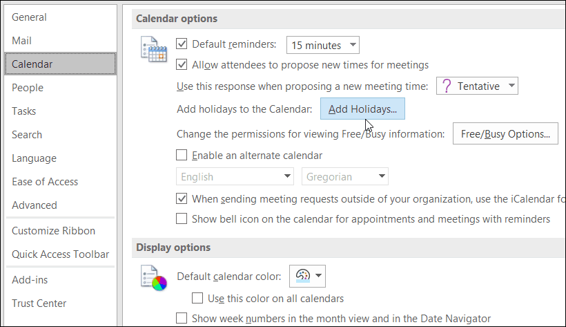Add Holiday Microsoft outlook
