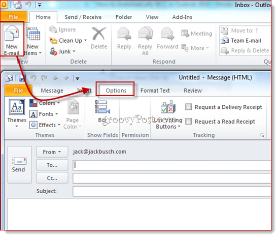 Reveal BCC in Outlook 2010
