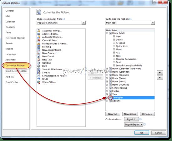 Reveal Developer Tab in Outlook 2010