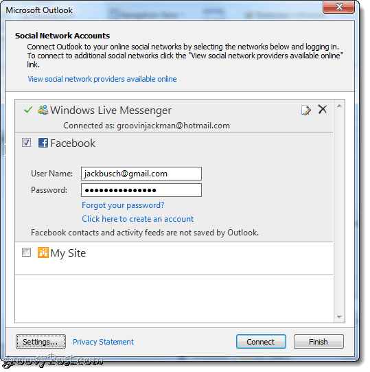 Connect to Facebook in Outlook