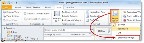 Enable the People Pane in Outlook 2010