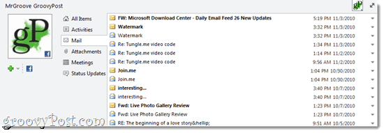 Outlook Social Connector Message History