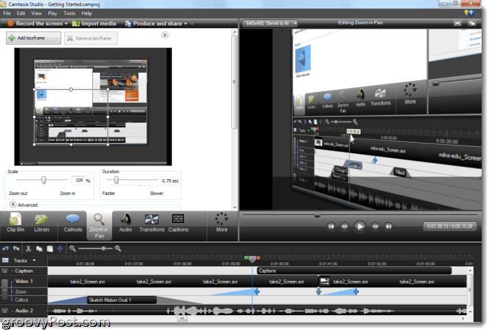 Camtasia studio 7 review and screenshot tour but of course the easiest way to apply zoom n pan is to allow smartfocus to take care of it for you smartfocus analyzes your clicks typing and window ccuart Image collections