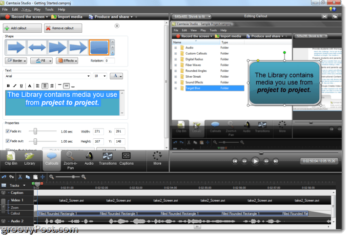 Camtasia studio 7 review and screenshot tour callouts let you add arrows text boxes speech bubbles keystrokes sketch motions highlights blurs and spotlights to your video ccuart Image collections