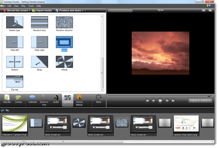 Camtasia studio 7 review and screenshot tour and flip to more quirky transitions like spiral and zig zag you add them by dragging and dropping them between clips in the transition tab ccuart Image collections